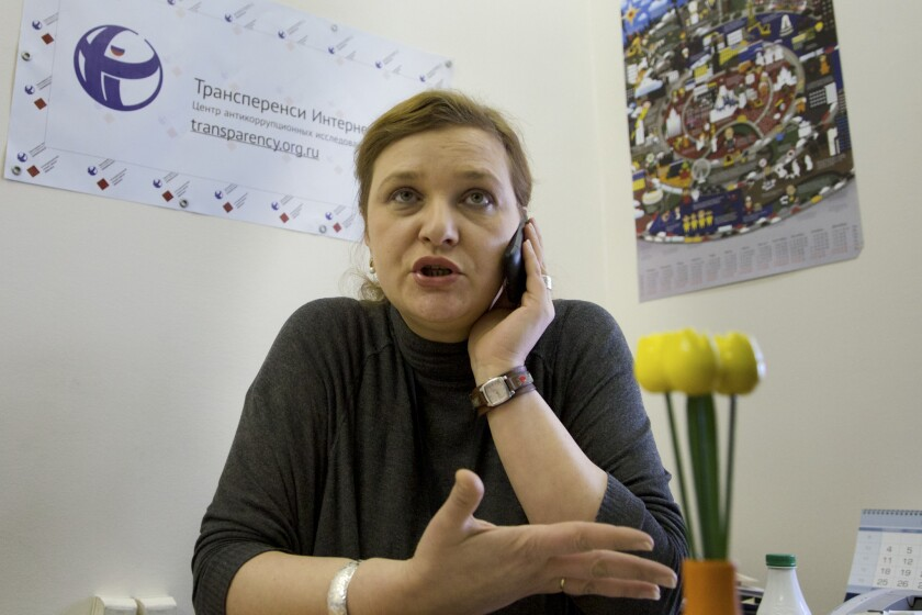 Elena Panfilova of Transparency International, which was searched by Russian officials as part of a wave of inspections of non-governmental organizations.