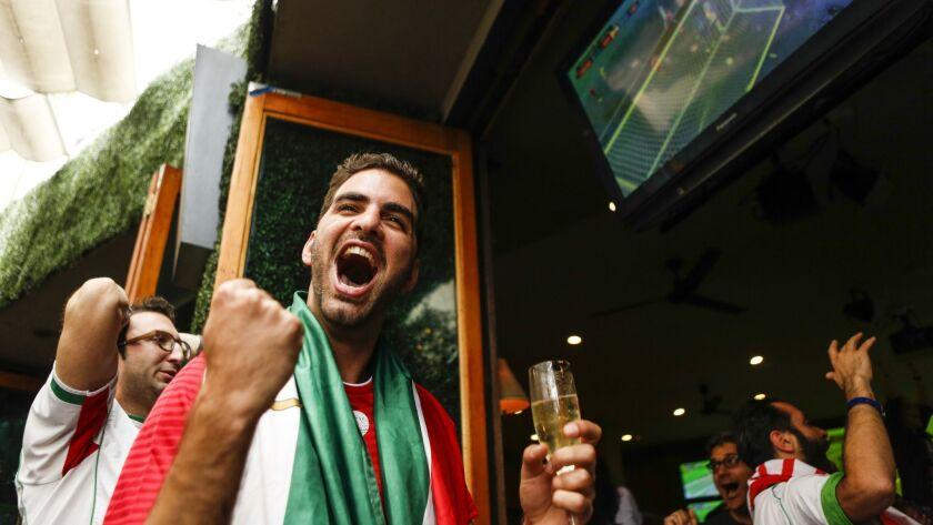 LOS ANGELES, CA -- FRIDAY, JUNE 15, 2018-- Mehran Ghaemi celebrates as Iran scored during the last
