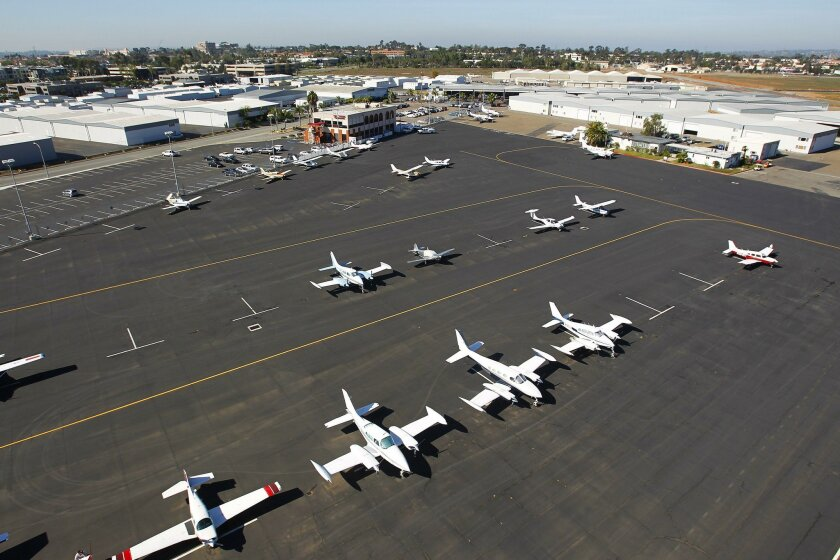 Airplanes are parked at Montgomery Field Airport in Serra Mesa.