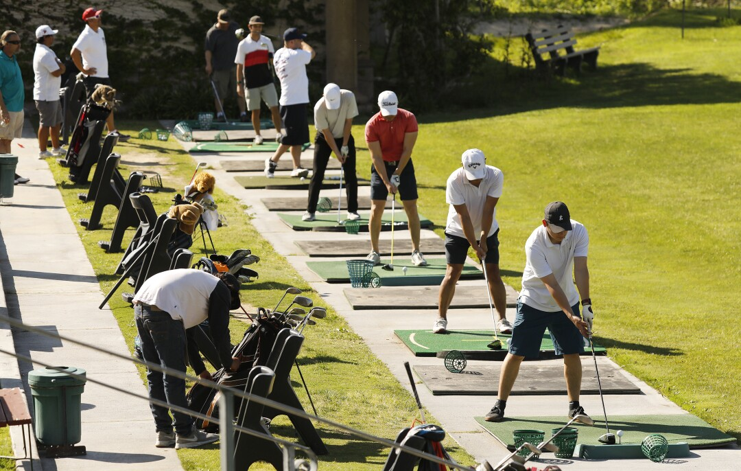 The driving range at Sterling Hills Golf Club in Camarillo on Wednesday.