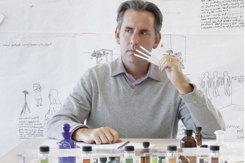 Artist Brian Goeltzenleuchter in his studio.