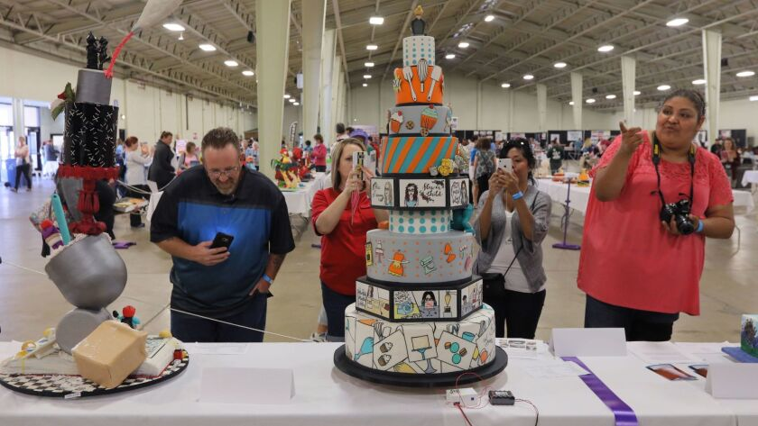 Attendees get a close look at some of the competition's larger entries.