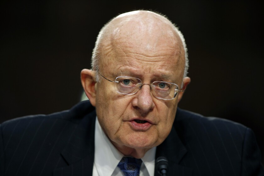 National Intelligence Director James Clapper testifies on Capitol Hill in February.