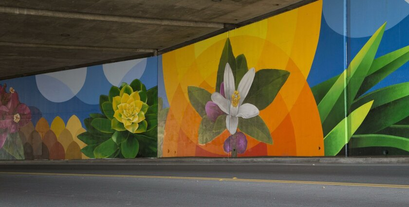 Artwork painted by volunteers on the Buena Vista Avenue underpass.