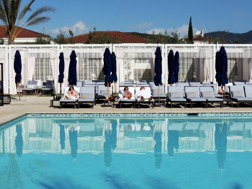After a day of working out, you can relax at the adults-only pool at Ojai Valley Inn & Spa.