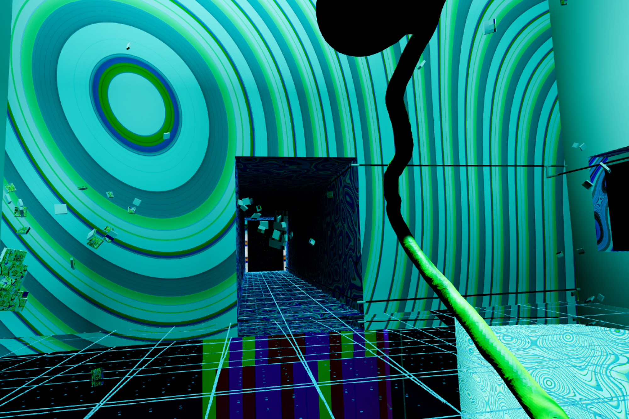 """A still from artist Keith Tolch's interactive, virtual reality art work, """"Glass Bottom Brain."""""""