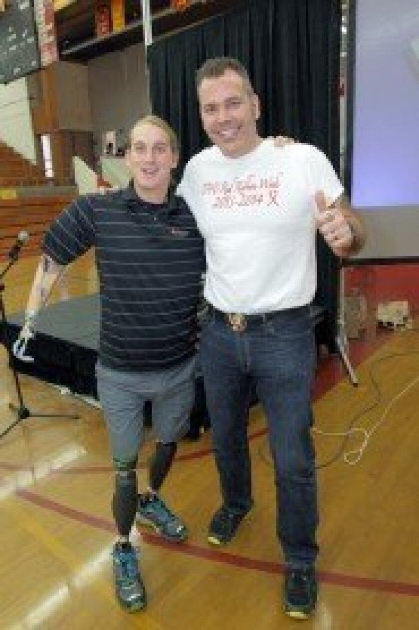Guest speaker Cameron Clapp with TPHS teacher Don Hollins. Photo/Jon Clark