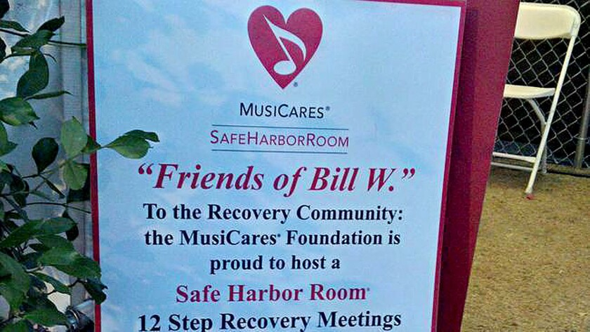 A MusiCares safe harbor room is set up backstage at the 2015 Stagecoach Country Music Festival in Indio to provide support for musicians and concert tour personnel in recovery.