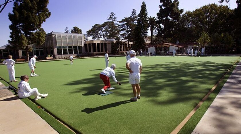 Members of the Coronado Lawn Bowling Club, located at Seventh Street and D Avenue, are giving free lessons in an effort to attract more people to the sport. The city recently spent $475,000 to overhaul the lawn bowling green.
