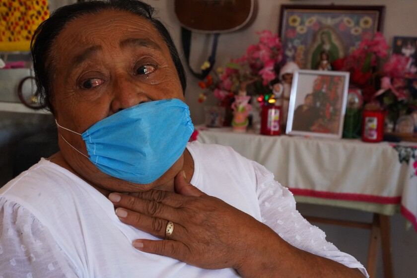 Ausencia Guadalupe Lopez, 73, mourns the loss of her daughter, Maria Irasema Vaquero Lopez, 43, who died of Covid.