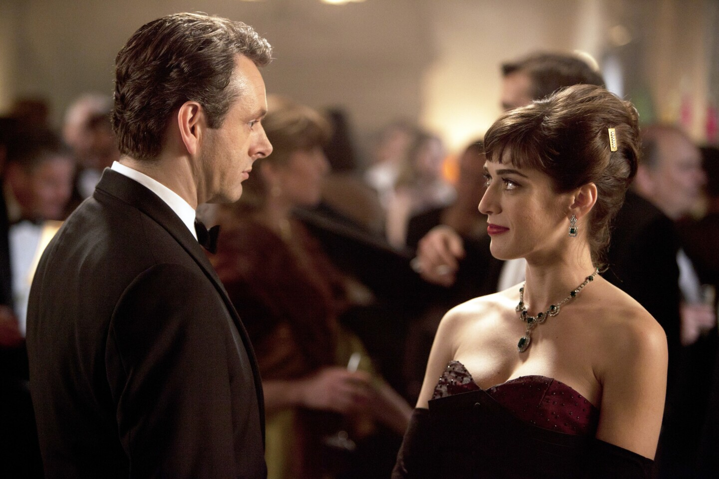 """Lizzy Caplan as Virginia Johnson and Michael Sheen as Dr. William Masters in """"Masters of Sex."""""""