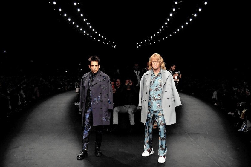 Derek Zoolander (Ben Stiller) and Hansel (Owen Wilson) appear in the Valentino show during Paris Fashion Week last year.