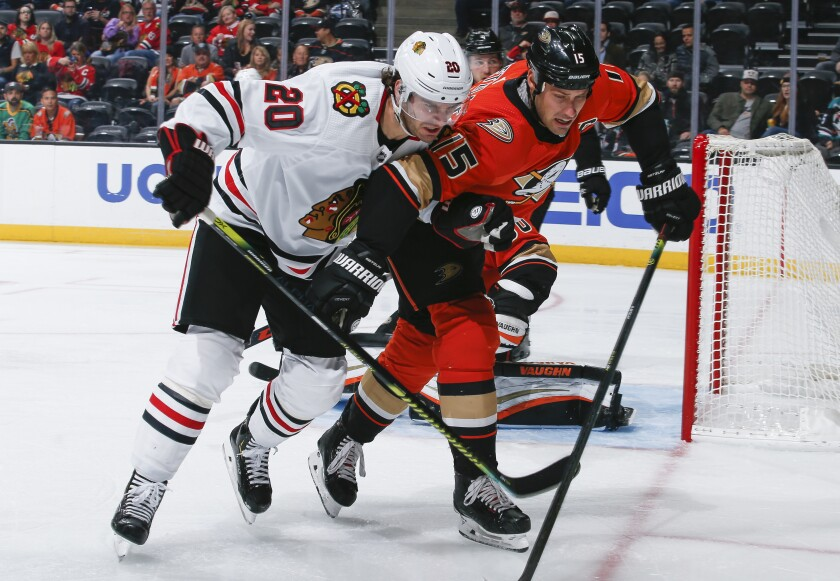 Chicago Blackhawks forward Brandon Saad and Ducks captain Ryan Getzlaf battle for the puck.