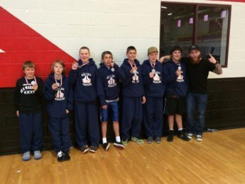 R. Roger Rowe wrestling team: L-R: Zach Kindel; Julian Shearer; Seth Rossier; Nick Persico; Conrad Delgado; Aidan McGeehan; Danny Burns Brewster; Coach Ryan Bixler Courtesy photo