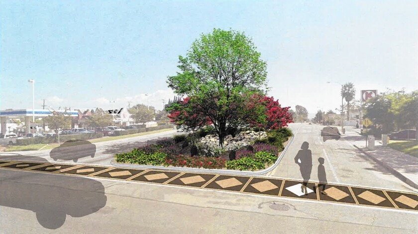 A new landscaped median and crosswalk are part of the plans for Del Mar Avenue where it meets Newport Boulevard in Eastside Costa Mesa.