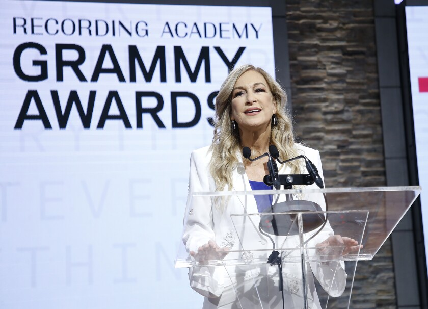 Deborah Dugan, then Recording Academy president and chief executive, at the 62nd Grammy Awards nominations on Nov. 20.