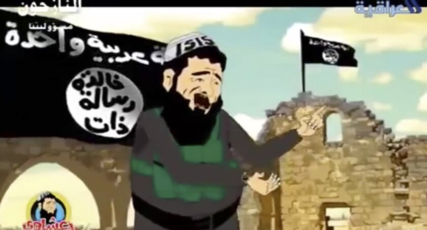 """In this image made from an undated cartoon broadcast on state-run al-Iraqiya TV in Iraq, a cartoon character portrayed as a member or a supporter of the Islamic State group sings a song. Television networks across the Middle East have begun airing cartoons and comedy programs using satire to criticize the group and its claim of representing Islam. And while not directly confronting their battlefield gains, the shows challenge the legitimacy of the Islamic group and chips away at the fear some have that they are unstoppable. The Arabic writing on the flag reads, """"One Arab nation,"""" top, and """"Having an eternal message."""" """"ISIS"""" on the cartoon character's head cover is the outdated acronym of the group. (AP Photo/al-Iraqiya)"""