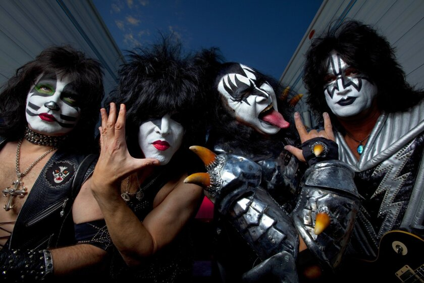 Eric Singer, left, Paul Stanley, Gene Simmons and Tommy Thayer of KISS.