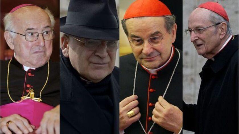 Los cardenales que firmaron la carta y la hicieron pública, en una maniobra sin precedentes en el Vaticano: Walter Brandmüller, Raymond Burke, Carlo Caffarra y Joachim Meisner.