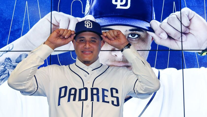 The Padres introduce Manny Machado at a news conference in Peoria on Feb. 22, 2019.