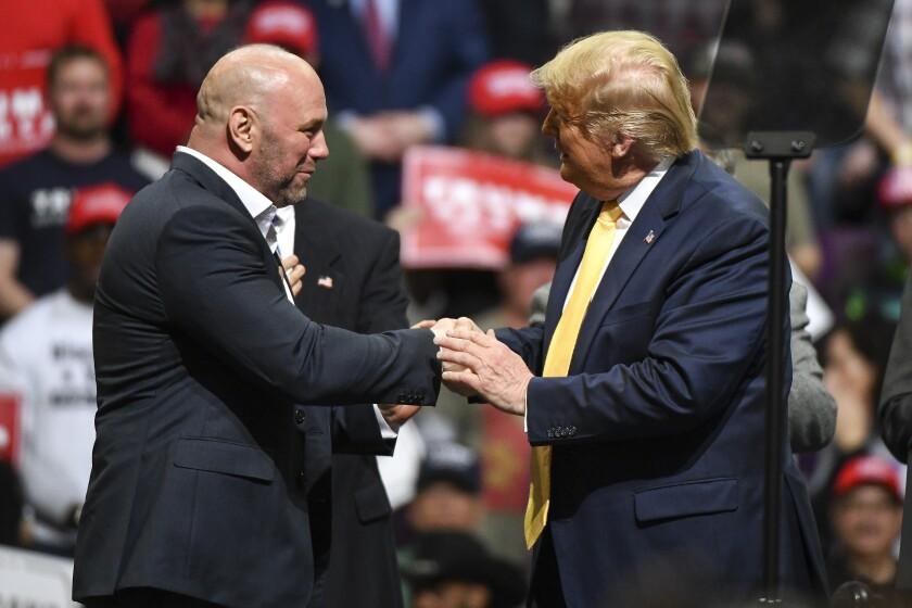 Dana White and President Trump at a Feb. 20 rally in Colorado.
