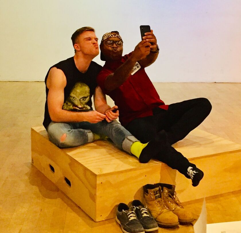 """Devin Wade as Pup, left, and Christian St. Croix as Remy in """"Monsters of the American Cinema"""" at the 2019 San Diego International Fringe Festival in Balboa Park."""