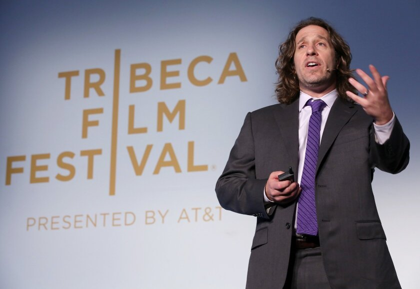 Jeremy Bailenson of Stanford University's Virtual Human Interaction Lab speaks at the Tribeca Film Festival in New York City.