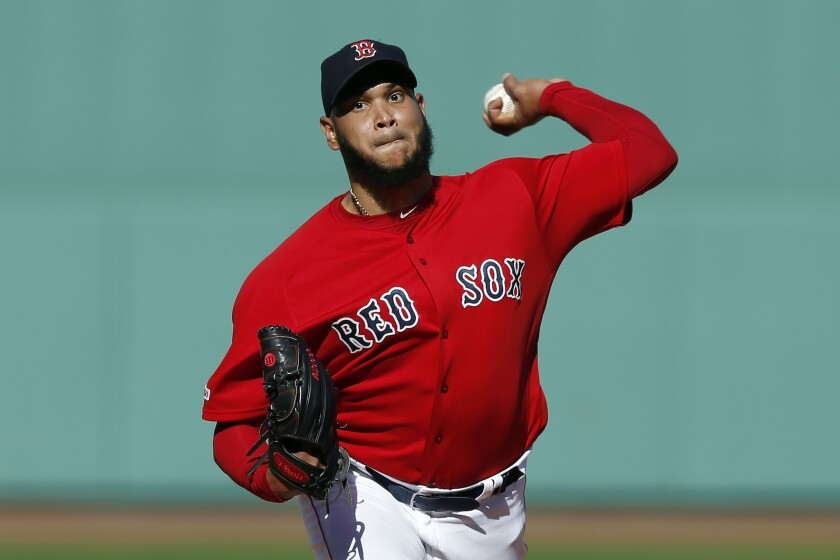 FILE - In this Sunday, Sept. 29, 2019 file photo, Boston Red Sox's Eduardo Rodriguez pitches during the first inning of a baseball game against the Baltimore Orioles in Boston. Boston pitcher Eduardo Rodríguez argued his case Wednesday, Feb. 12, 2020 asking for a raise to $8,975,000 rather than the $8.3 million offer of the Red Sox. A right-hander who turns 27 in April, Rodríguez was a career-best 19-6 with a 3.81 ERA in 34 starts last season, when he made $4,325,000. He is eligible for free agency after the 2021 season.(AP Photo/Michael Dwyer, File)