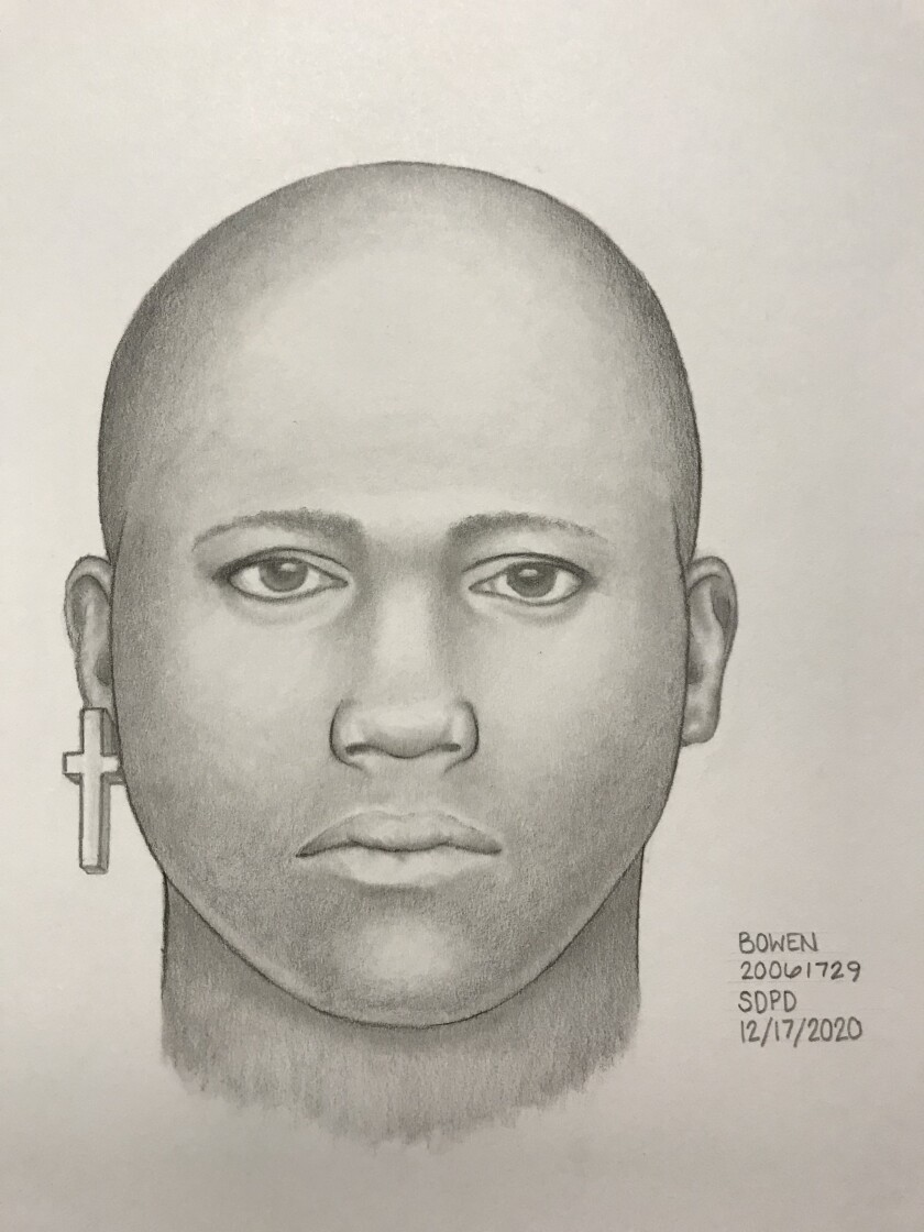 A composite sketch depicts a man who reportedly grabbed a jogger's genitals at Black's Beach in La Jolla.