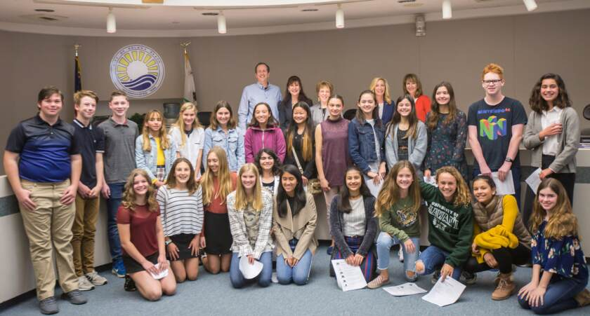 Earl Warren Middle students recently asked the Solana Beach City Council to reduce the city's contribution to plastic in the ocean by switching from plastic net straw wattles to wattles that use biodegradable natural netting.