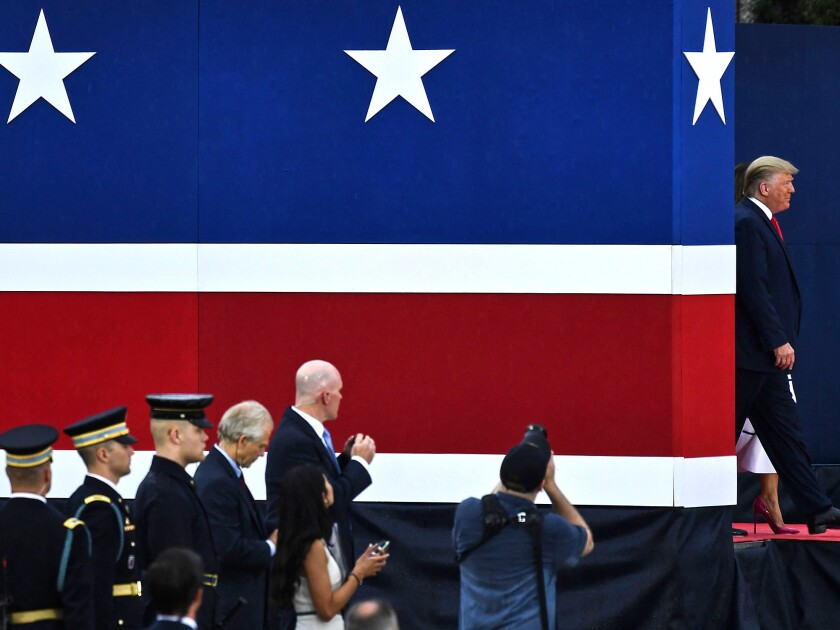 """President Trump and First Lady Melania Trump arrive at the """"Salute to America"""" Fourth of July event at the Lincoln Memorial in Washington."""