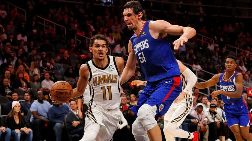 Boban Marjanovic, playing for the first time in four games Monday in Atlanta, entered in the third quarter against Trae Young and the Hawks and helped spark a 10-0 run to give the Clippers the lead.