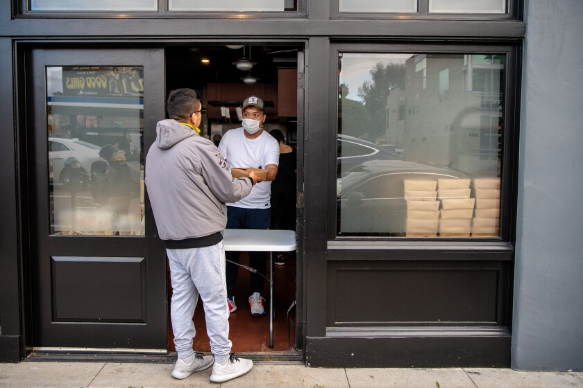 At Chi Spacca, Nancy Silverton and her staff distributed 300 free meals and other supplies to those in the restaurant industry who have been effected by closures due to the coronavirus outbreak.