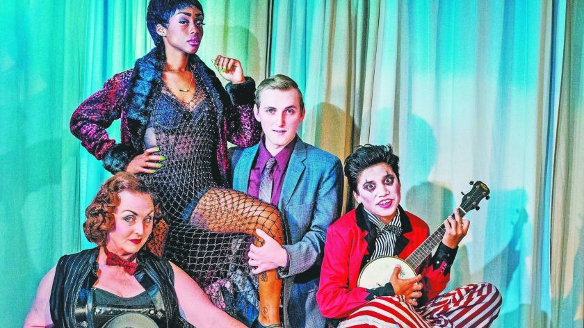 """The cast of Ion Theatre's """"Cabaret"""" includes (from left) Linda Libby, Cashae Monya, Drew Bradford and Scotty Atienza."""
