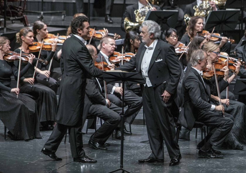 """Piotr Beczala and Placido Domingo perform in """"Luisa Miller"""" at the Salzburg Festival."""