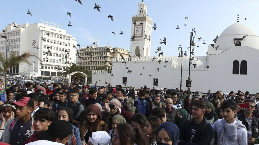 High school students march in central Algiers
