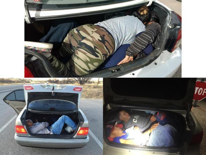 La Patrulla Fronteriza y activistas expresaron su preocupación ante el aumento de los casos de inmigrantes indocumentados que son transportados en las cajuelas de automóviles, lo que los pone en peligro de muerte. EFE/CBP/USO EDITORIAL SOLAMENTE