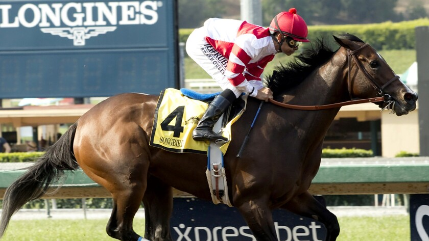 Songbird, with Mike Smith aboard, cruises to victory in the $200,000 Summertime Oaks at Santa Anita on June 18.