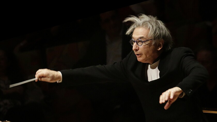 LOS ANGELES, CA MAR. 24, 2015 Michael Tilson Thomas conducting the London Symphony Orchestra in Sib