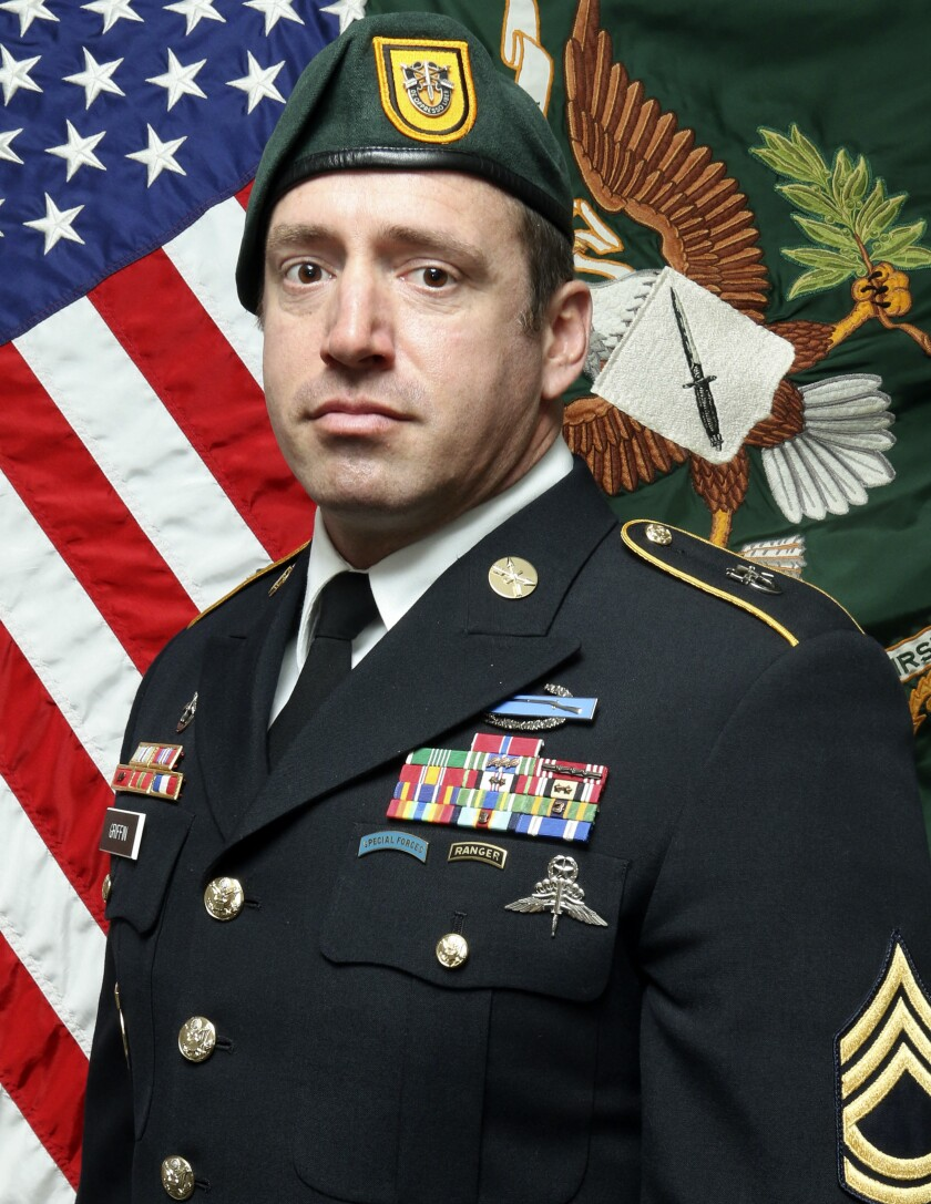 This image provided by the U.S. Army shows Sgt. 1st Class Jeremy W. Griffin, 40, from Greenbrier, Tenn. Griffin was killed in action Sept. 16, 2019, by small arms fire when his unit was engaged in combat operations in Wardak Province, Afghanistan. (U.S. Army via AP)