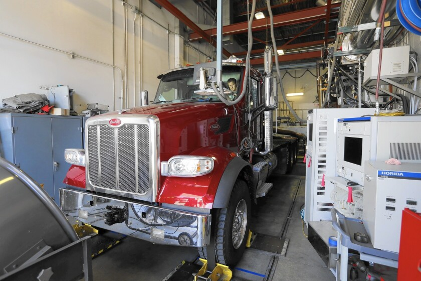 A brand-new disel truck is tested at the California Air Resources Board's lab in downtown L.A. The truck is among the cleanest on the road, but spews more than 20 times the smog-forming nitrogen oxides of a typical gasoline-powered car.