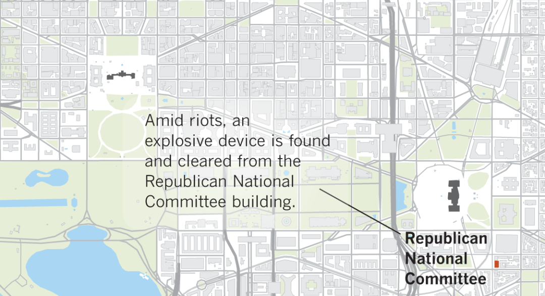 Map shows where explosives were found at The Capitol and the Republican National Committee