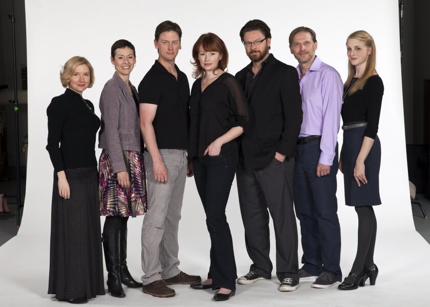 """The cast of the Old Globe Theatre's staging of """"A Doll's House"""": Nisi Sturgis, Amanda Naughton, Fred Arsenault, Gretchen Hall, Richard Baird, Jack Koenig and Katie Whalley (left to right)."""