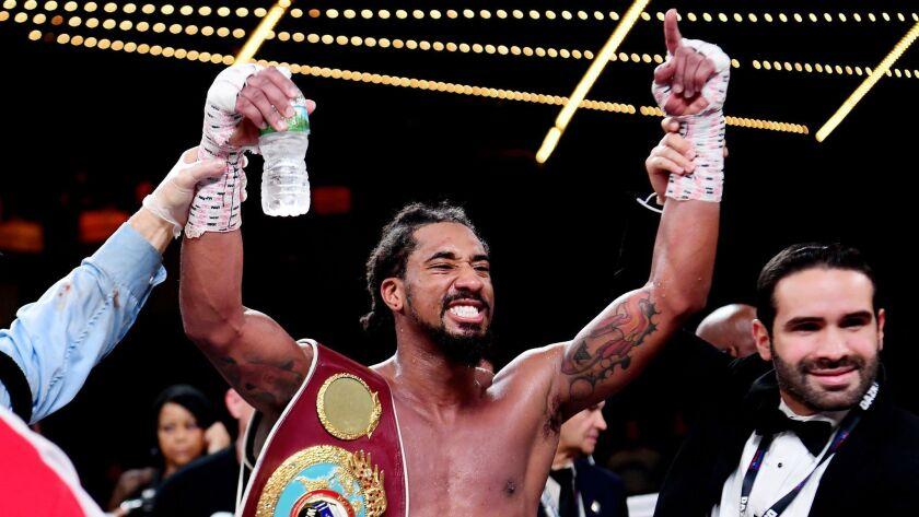 Demetrius Andrade of the United States reacts after defeating Artur Akavov of Russia during the WBO middleweight title fight at The Hulu Theater at Madison Square Garden on January 18, 2019 in New York City.