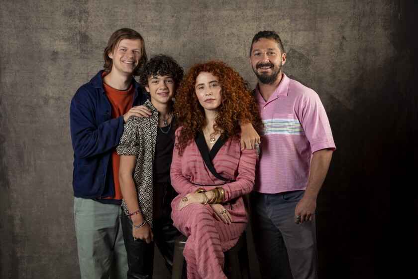 "Actors Lucas Hedges, left, and Noah Jupe, director Alma Har'el and actor Shia LaBeouf, from the film ""Honey Boy,"" photographed in the L.A. Times Photo Studio at the Toronto International Film Festival."
