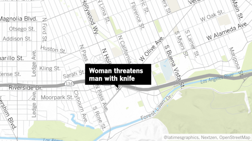 Tera Oland, a 49-year-old from Sherman Oaks, was arrested by Burbank police last week for allegedly threatening a man in her car with a knife and claiming she was a member of the Armenian Power gang.