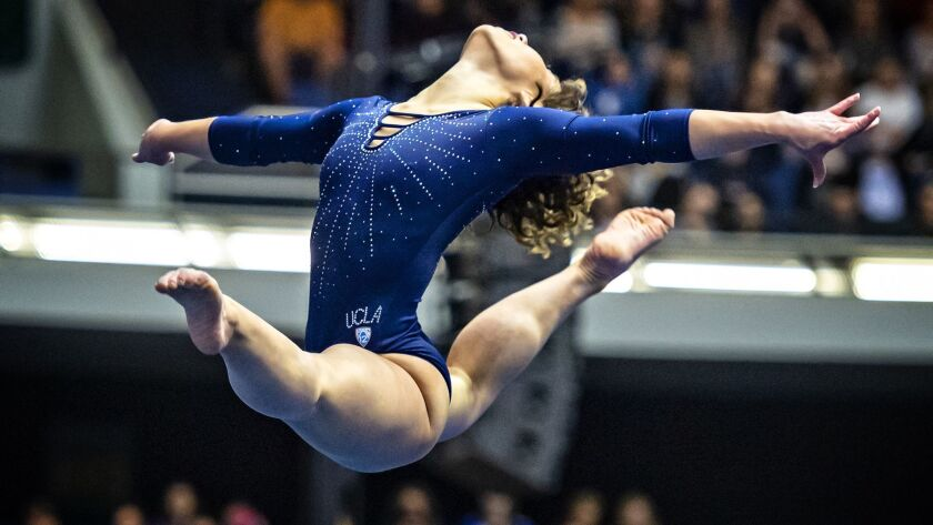 Katelyn Ohashi performs on Jan. 12 2019 for a gymnastics meet of the UCLA Bruins. Ricky Lee/UCLA)