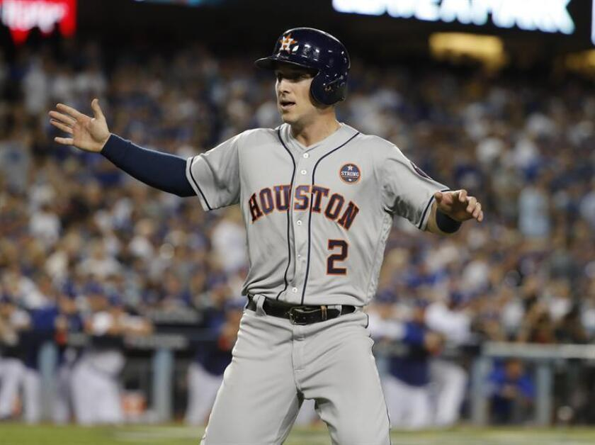 En la imagen, el jugador Alex Bregman de Astros de Houston (EE.UU.). EFE/Archivo