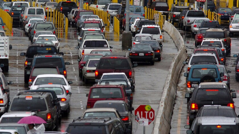 Traffic jams the entry lanes into the United States from Tijuana, Mexico.