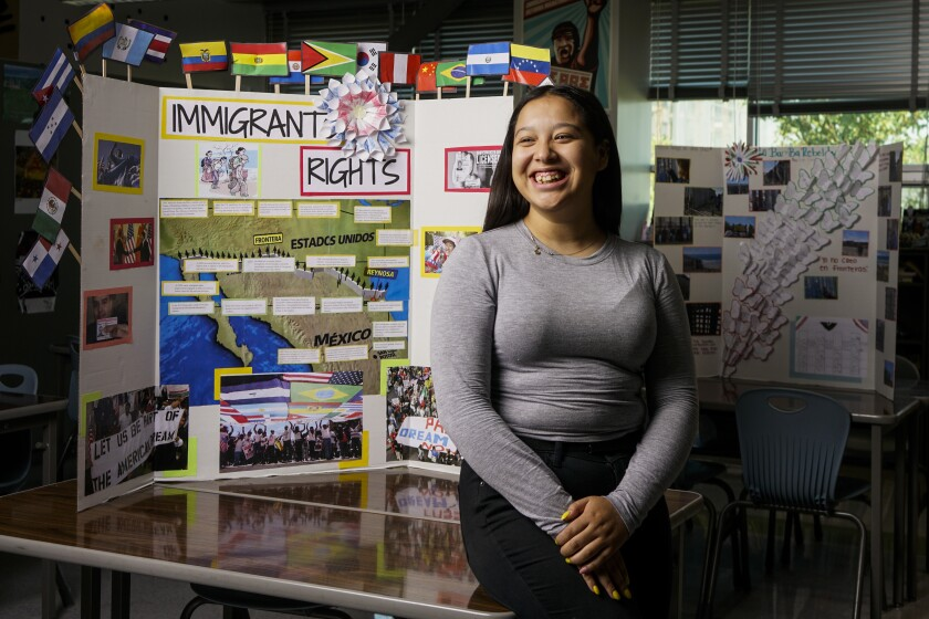 College student Angela Warren visits her L.A. high school ethnic studies classroom